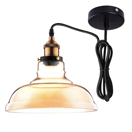 TheDIYOutlet Industrial Glass Pendant Light Amber Shade 11 in