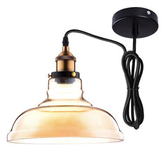 Industrial Glass Pendant Light Amber Shade 11 in