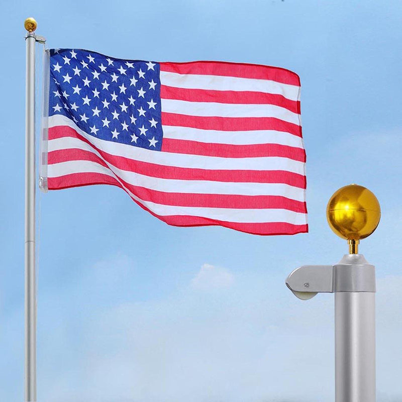 25 ft Aluminum Sectional Flagpole Kit with American Flag