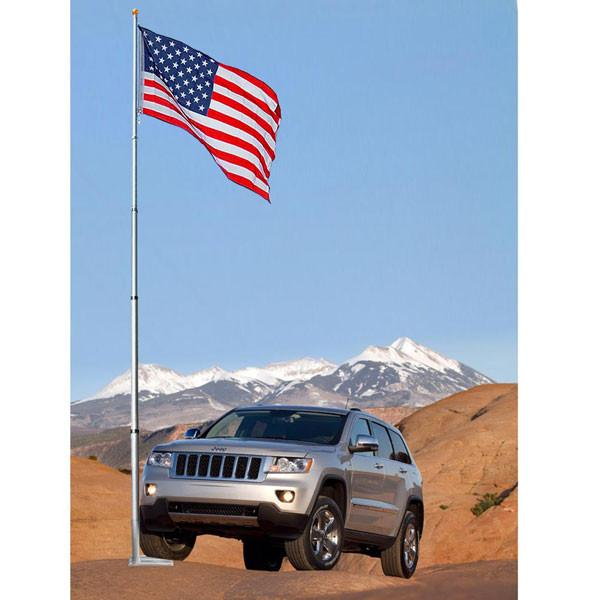 20 ft Aluminum Telescoping Flag Pole Kit with Tailgating