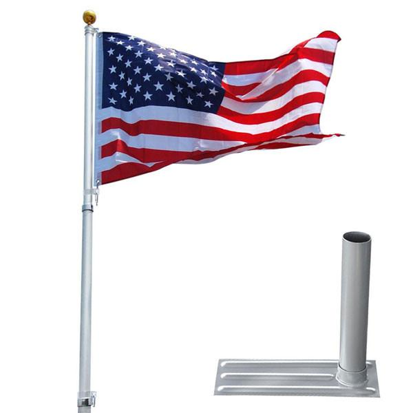 25 ft Aluminum Telescoping Flag Pole Kit with Tailgating