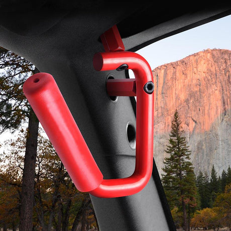 Red 2 Pcs Front Grabar Handle for Jeep Wrangler JK 2/4-Door 07-16