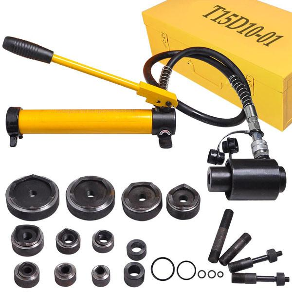 TheDIYOutlet 15-Ton Hydraulic Punch Driver Tool Kit w/ 10 Dies Yellow