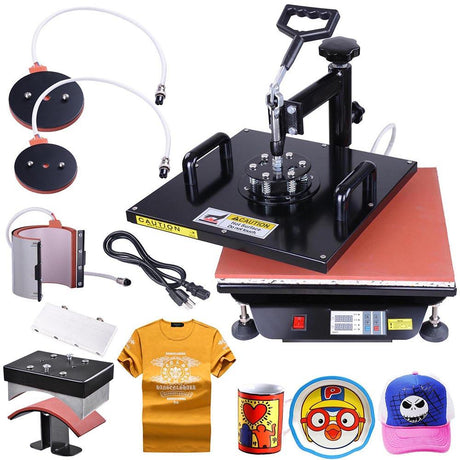TheDIYOutlet 5in1 15x15 Heat Press Transfer Sublimation Machine T-shirt Mug