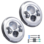 7in Pair LED White Ring Halo Angel Eyes Headlights for Jeep