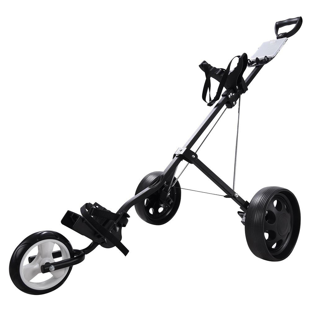 Golf Push Pull Cart Trolley Hand Cart 3 Wheels Foldable