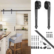 6' Interior Sliding Barn Wood Door Hardware Set Arrow Black