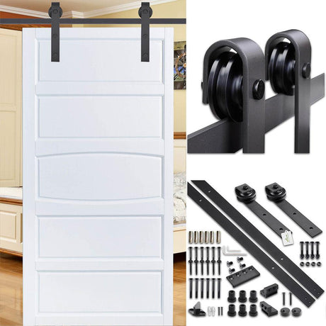 8' Sliding Barn Door Hardware Set Single Door 2 Rollers