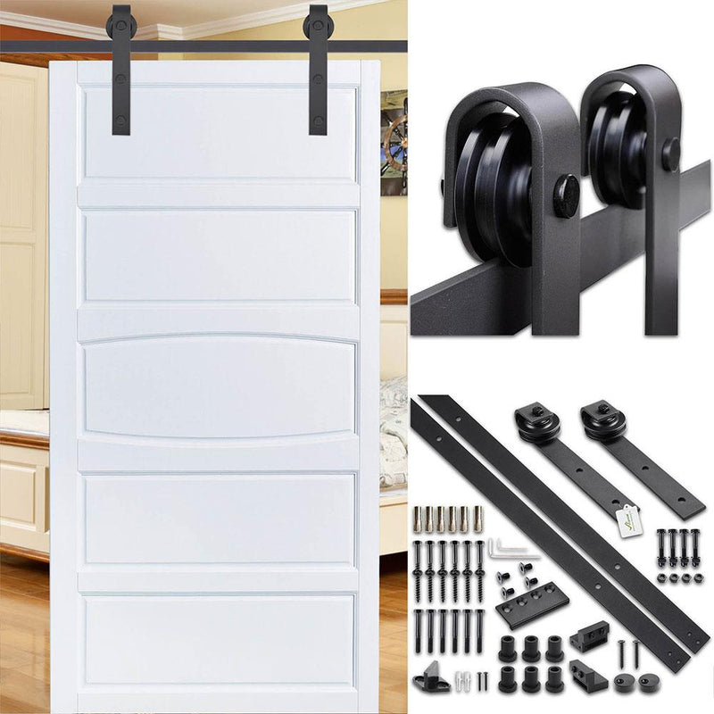 TheDIYOutlet 8' Sliding Barn Door Hardware Set Single Door 2 Rollers