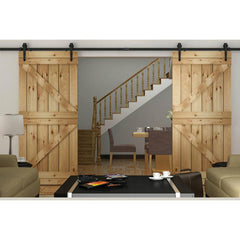 TheDIYOutlet 12' Interior Sliding Barn Double Door Hardware Set Arrow