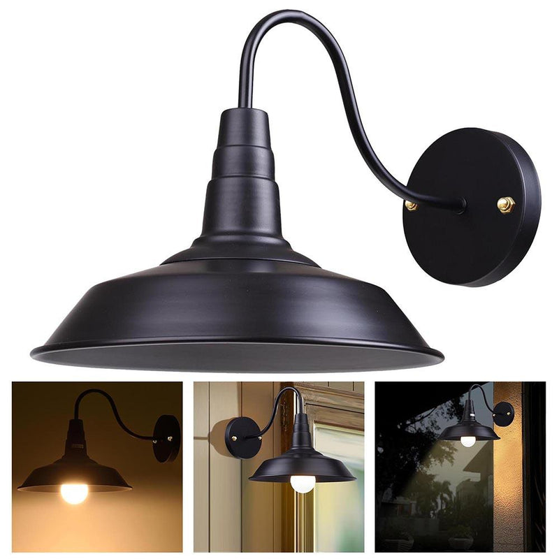 Industrial Barn Style Light Wall Lamp Black 10 in