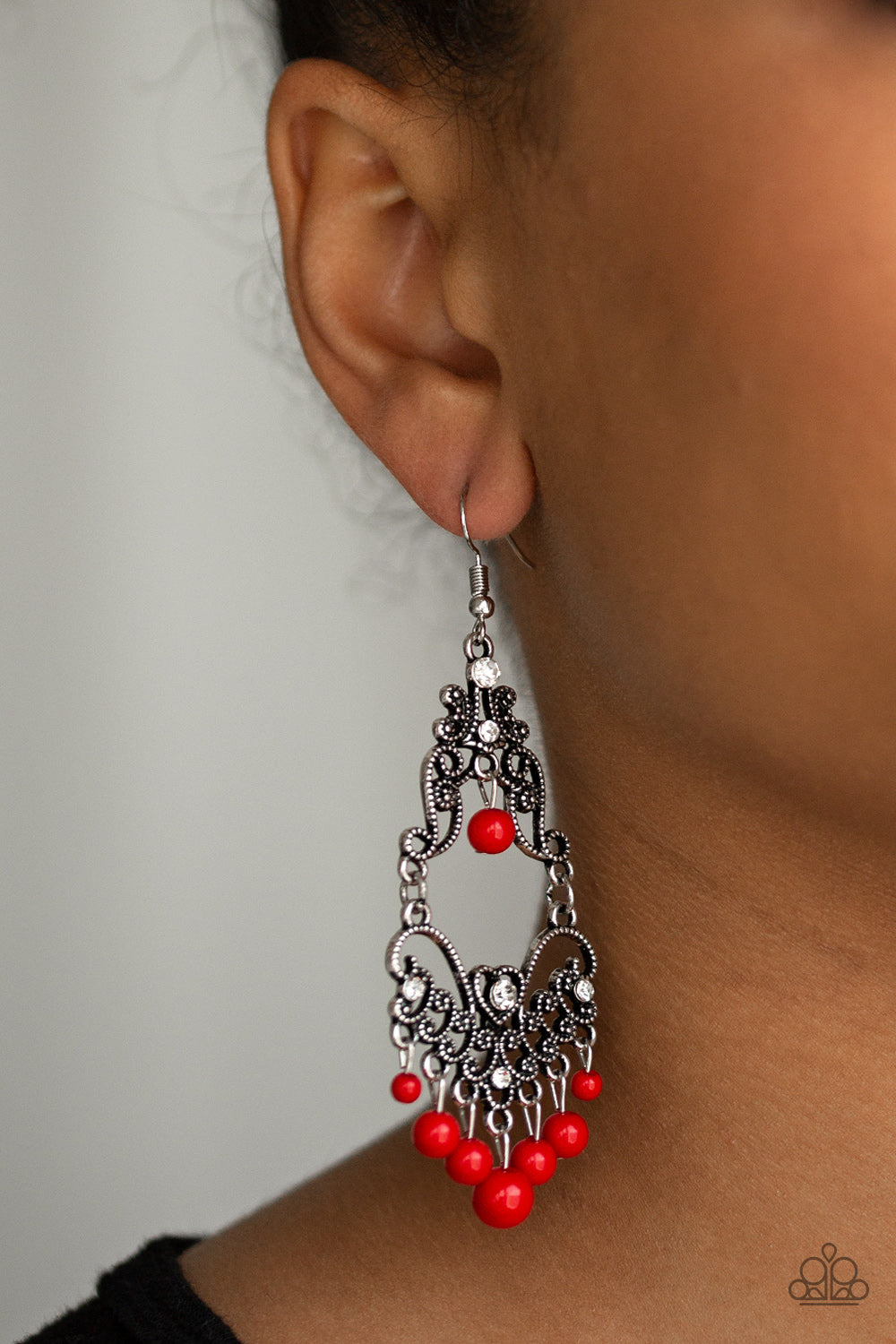 Colorfully Cabaret - Red - Earrings