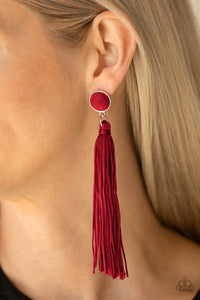 Tightrope Tassel - Red - Earrings