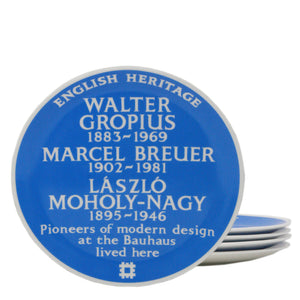English Heritage blue plaque Bauhaus plate