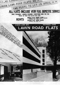 Postcard – Advertisement for Lawn Road Flats