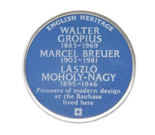 Load image into Gallery viewer, English Heritage blue plaque Bauhaus pin badge