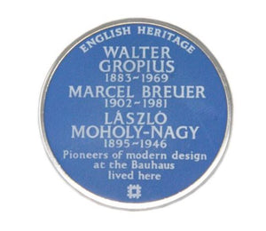 English Heritage blue plaque Bauhaus pin badge