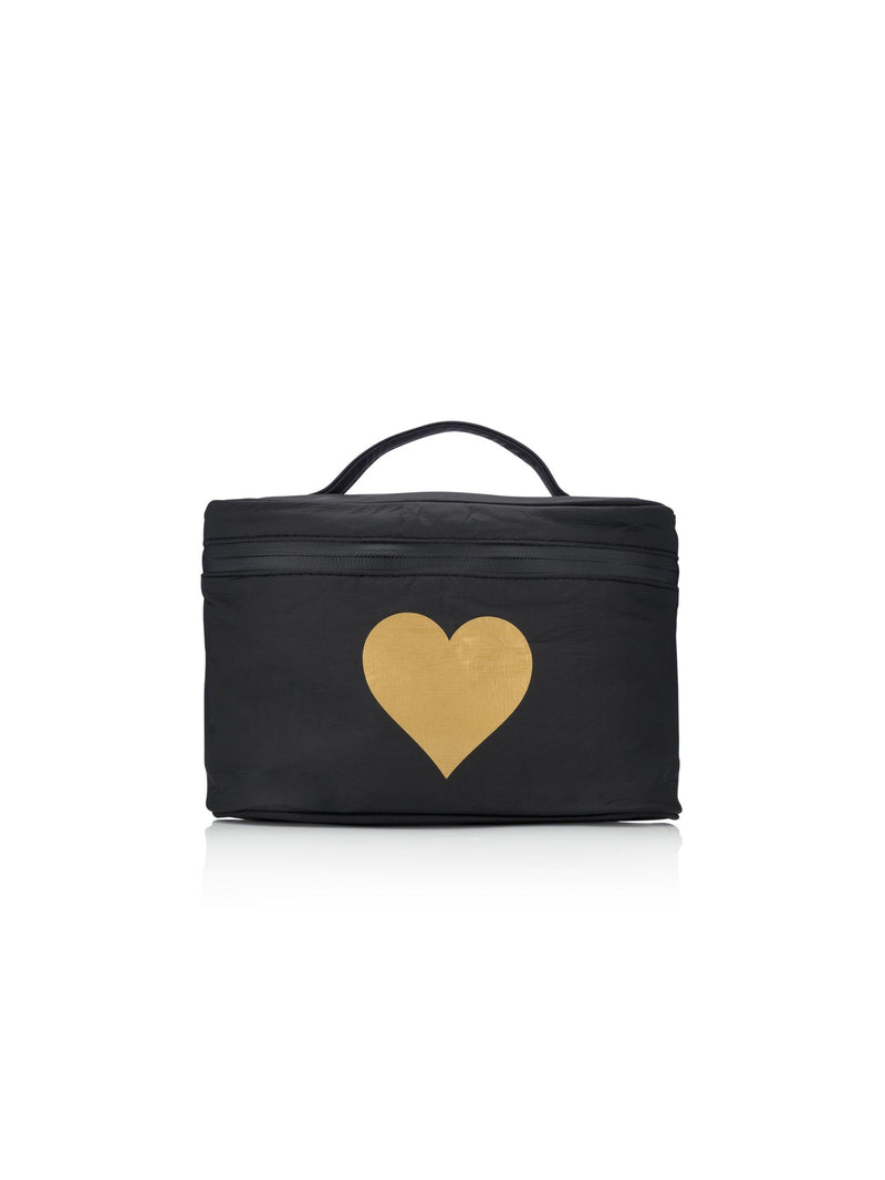 Black Metallic Heart Cosmetic Bag