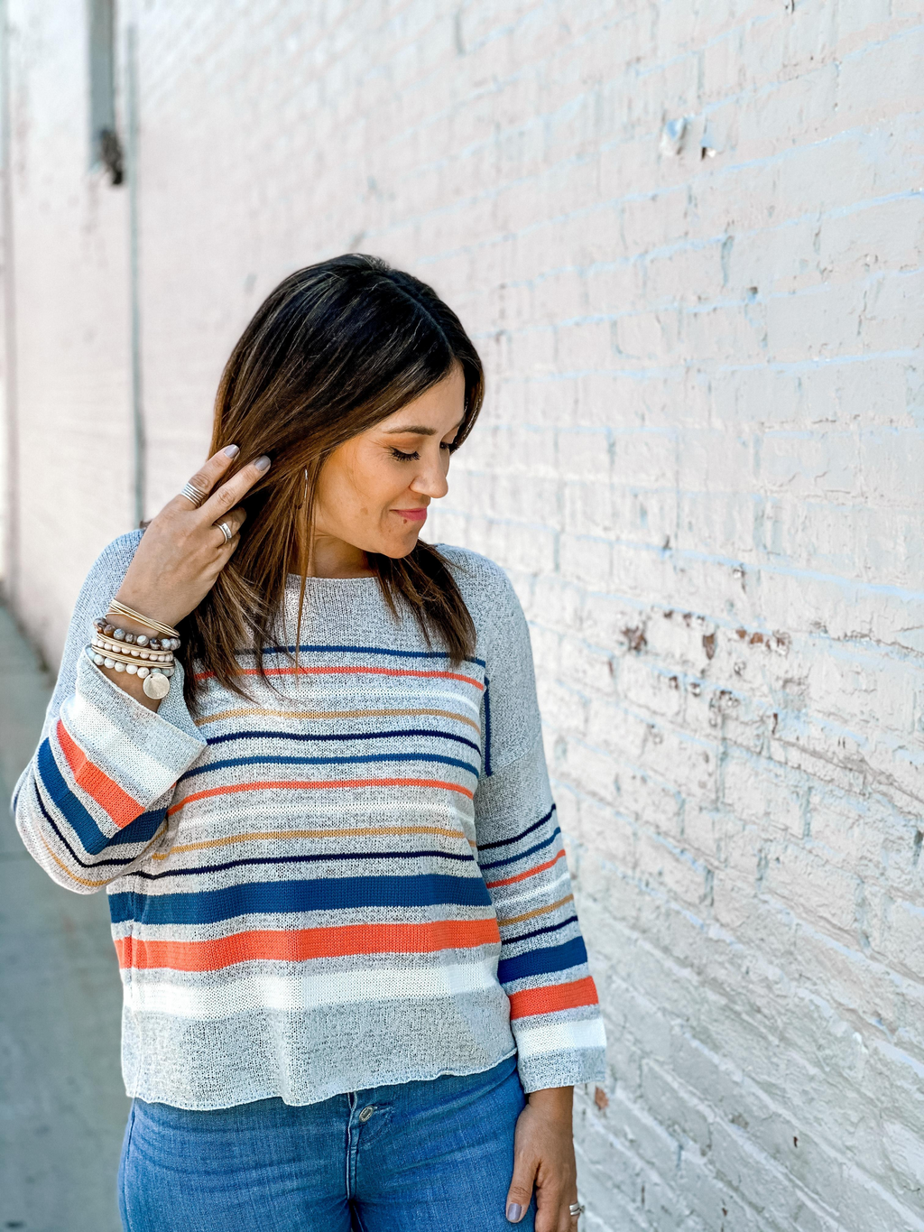 In the Stripe Detail Sweater