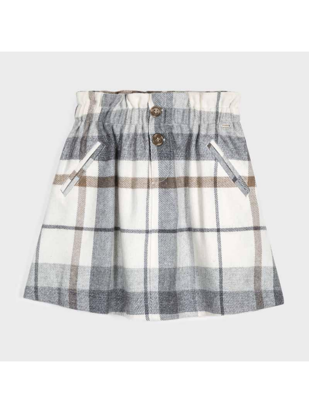 Neutral Checked Skirt