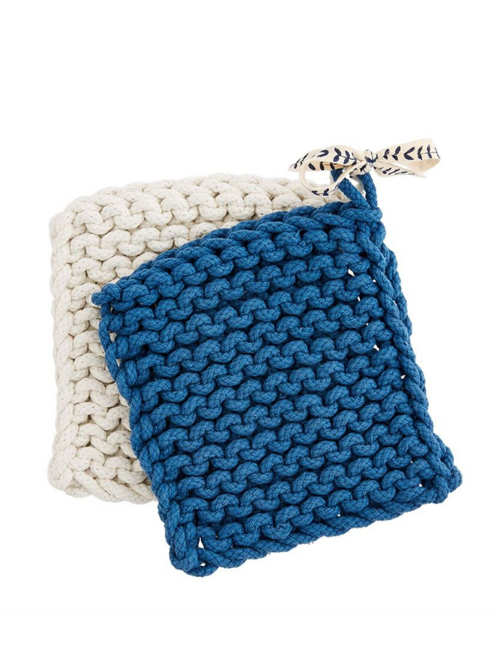 Blue/Cream Potholder Set
