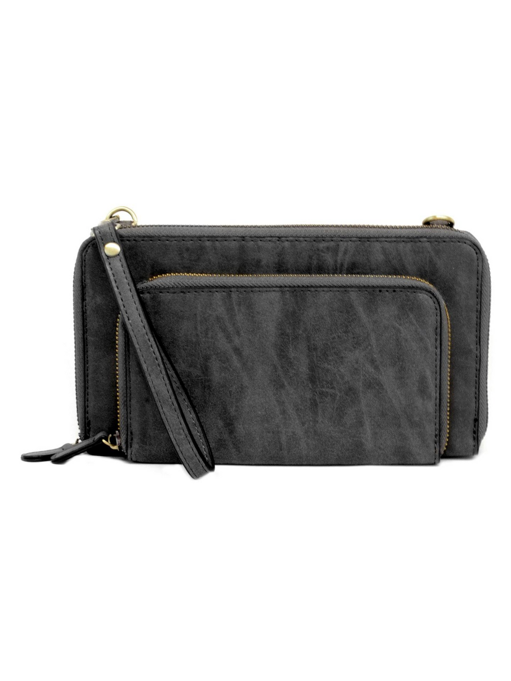 Mini Convertible Zip Wristlet - Brushed Black