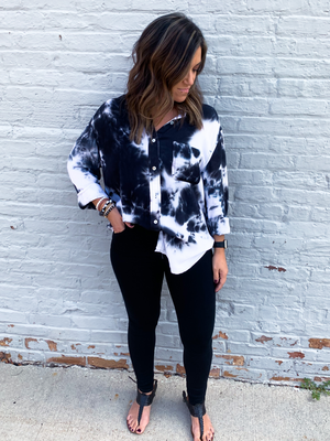 Navy Tie Dye Button Down