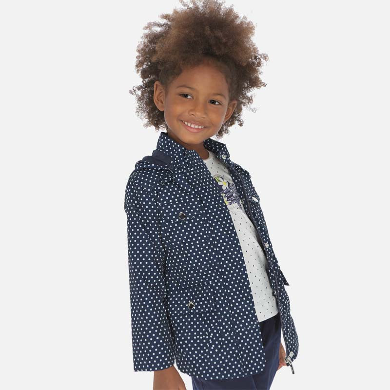 Sarah Navy & White Dot Windbreaker