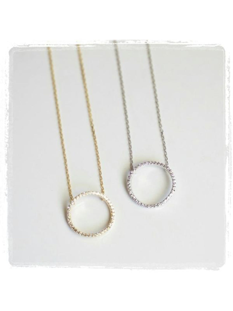 Pave Open Circle Necklace
