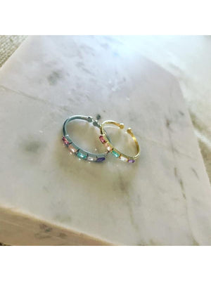 Rainbow Zirconia Baguette Stack Ring