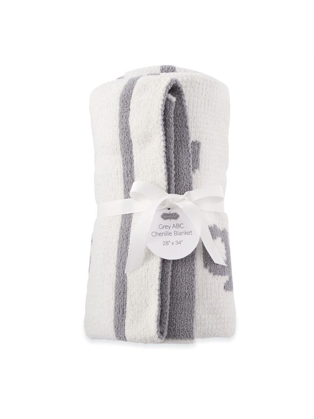 Grey ABC Chenille Blanket