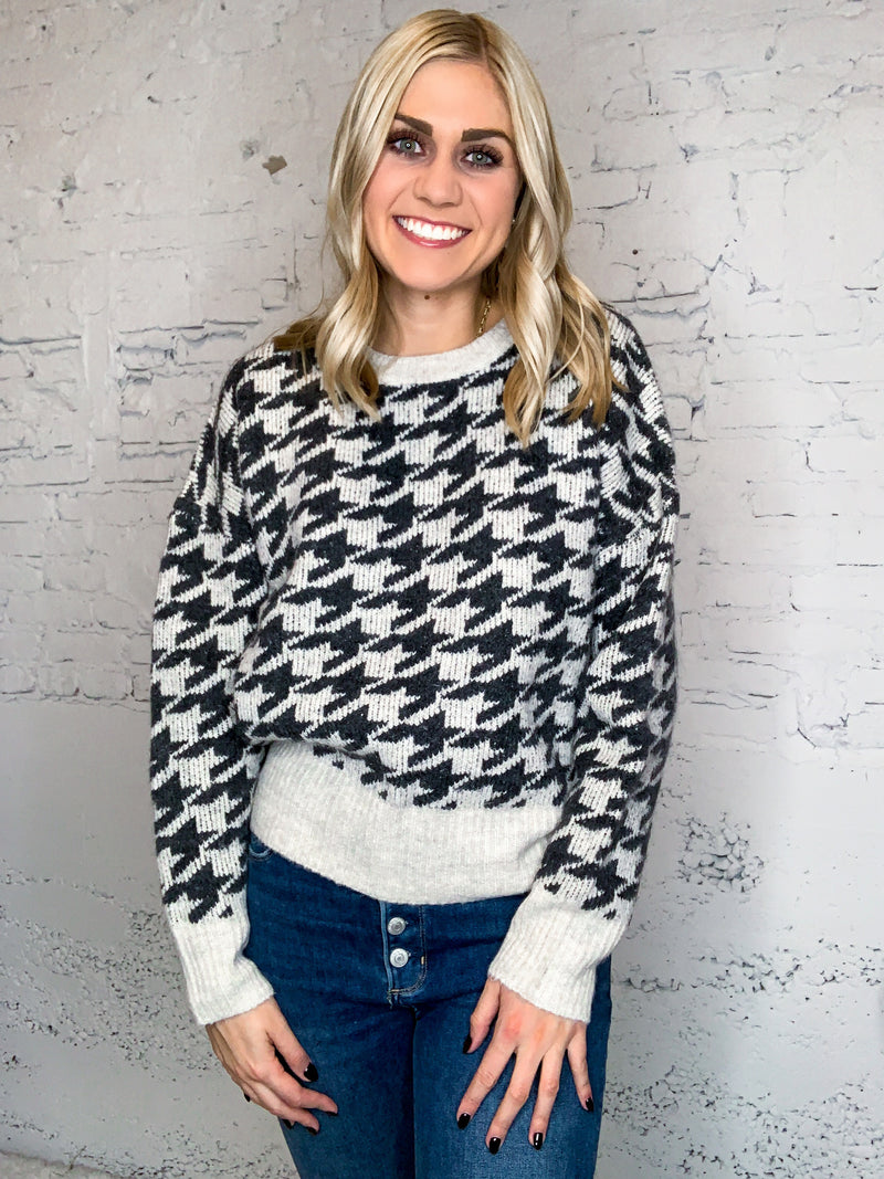 Jacquard Houndstooth Sweater