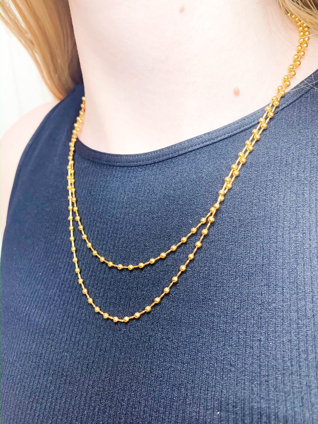 Mini Metal Bead Layered Necklace - Gold