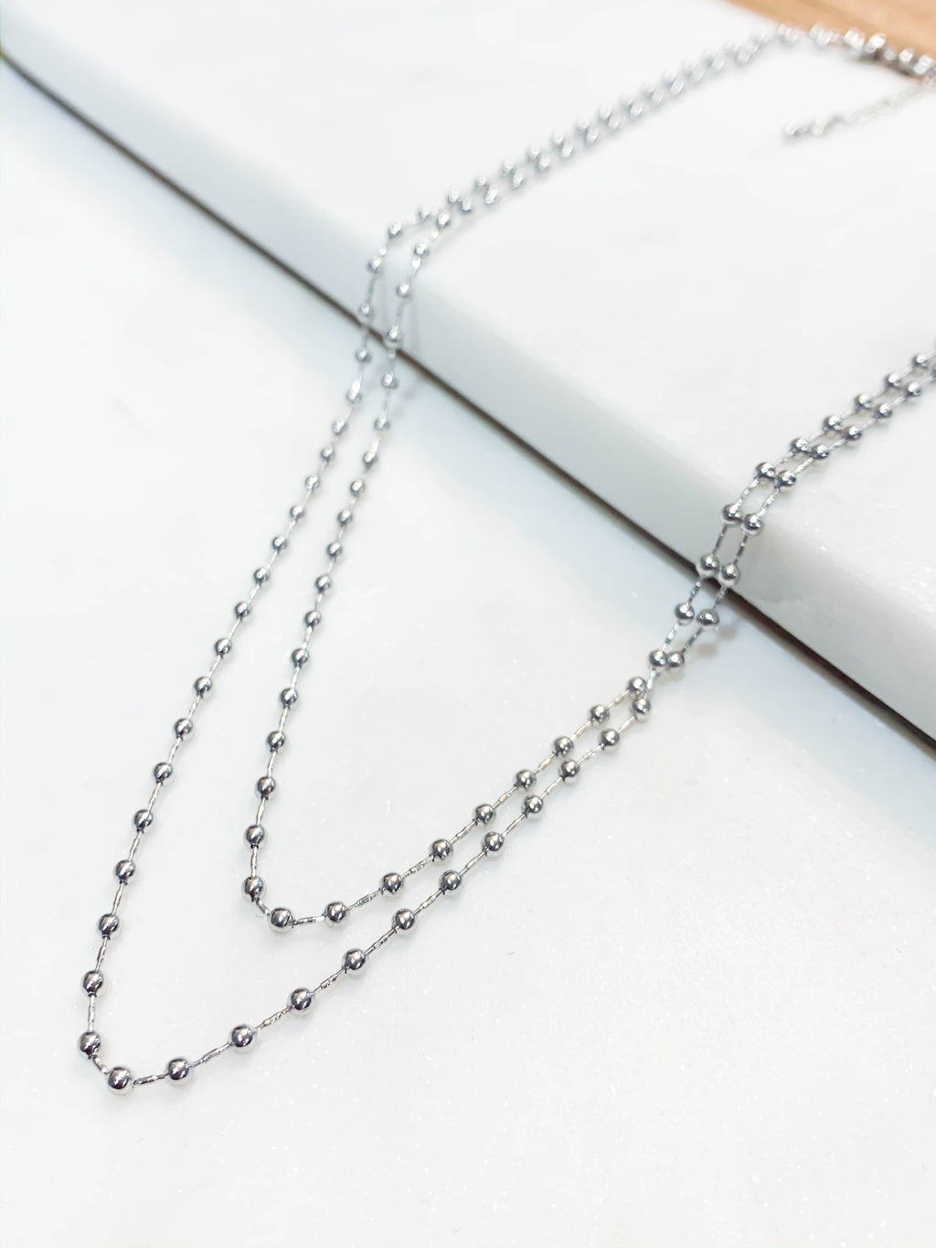 Mini Metal Bead Layered Necklace - Silver