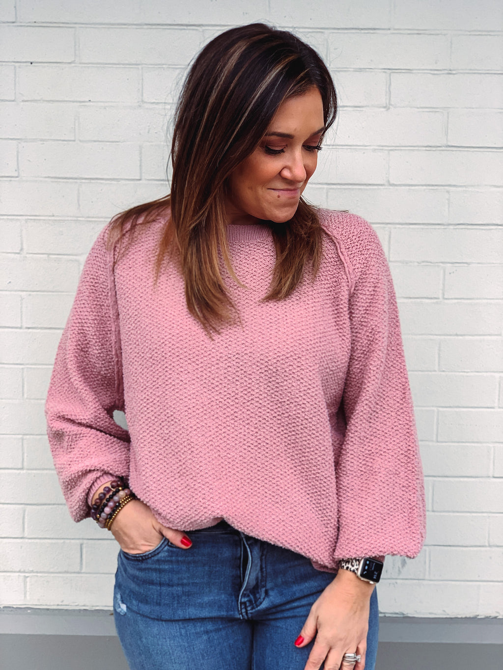 All the Blush Texture Sweater