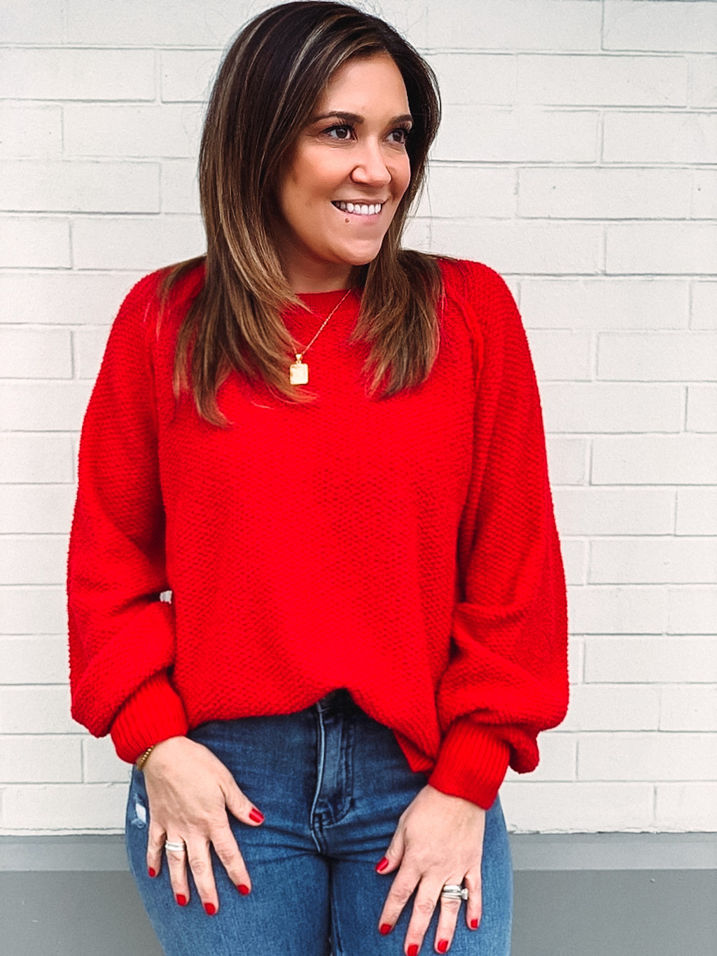 Rosy Red Days Texture Sweater