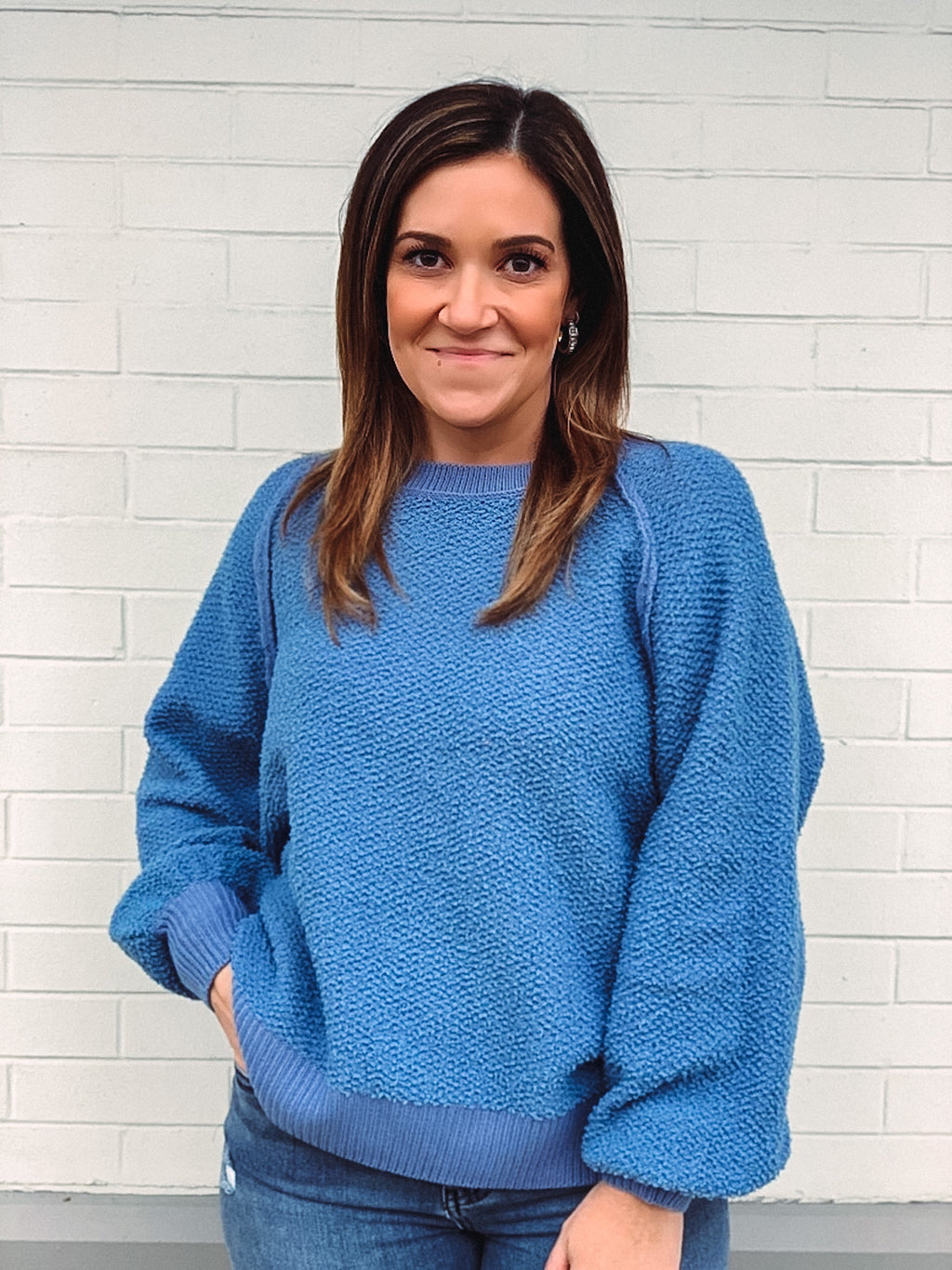 No Blue Days Texture Sweater