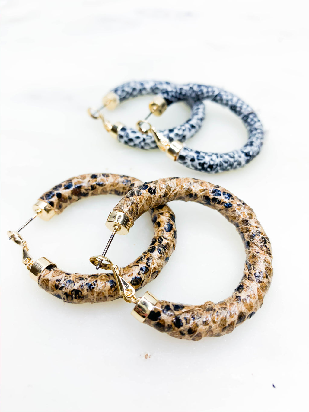 Snakeskin Wrapped Hoops