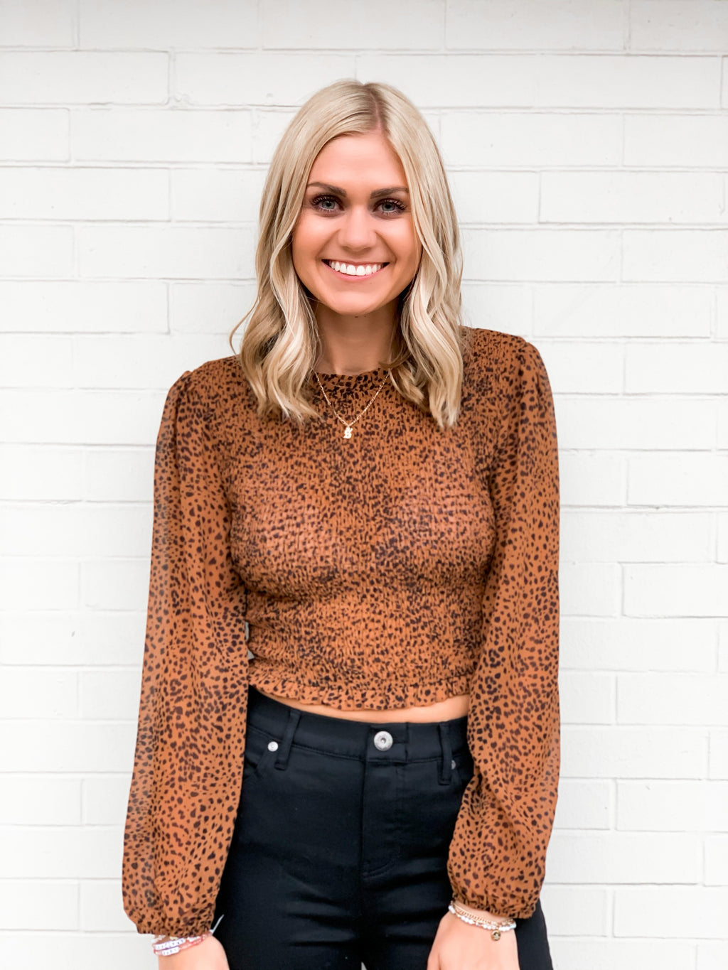 Napa Nights Cheetah Smocked Top