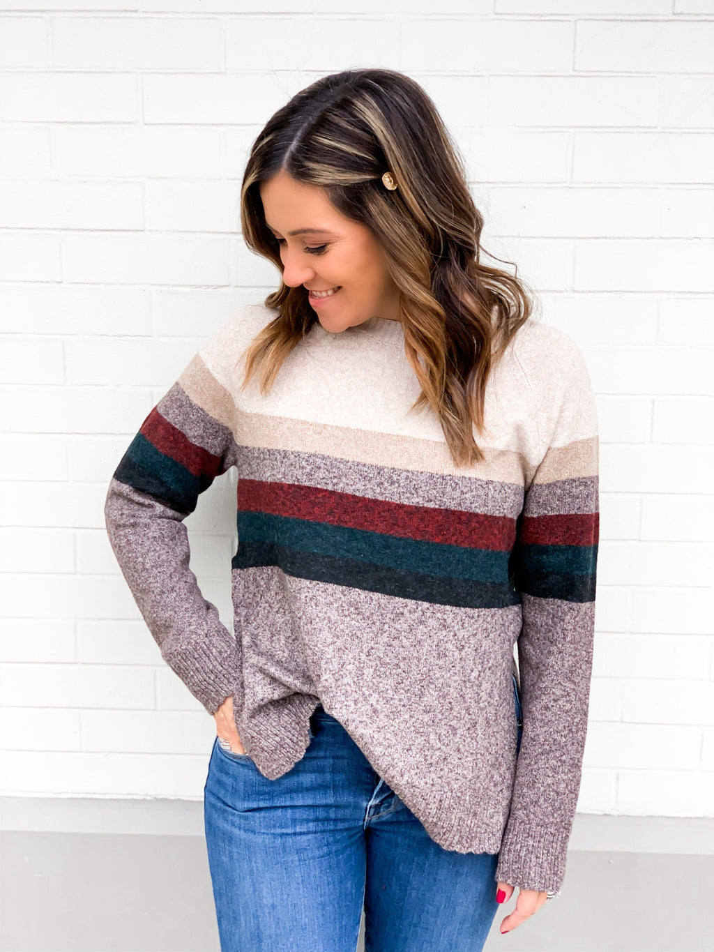 Liza Chocolate Stripe Sweater