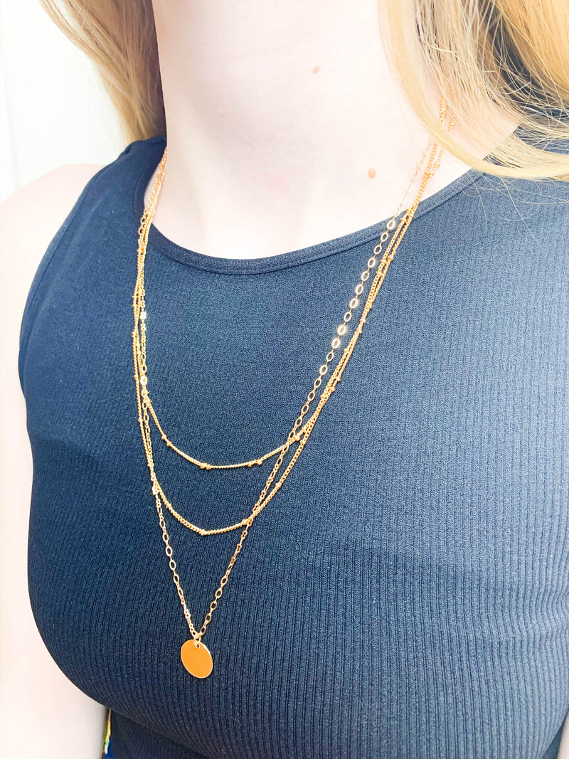 Tri-Layered Coin Necklace