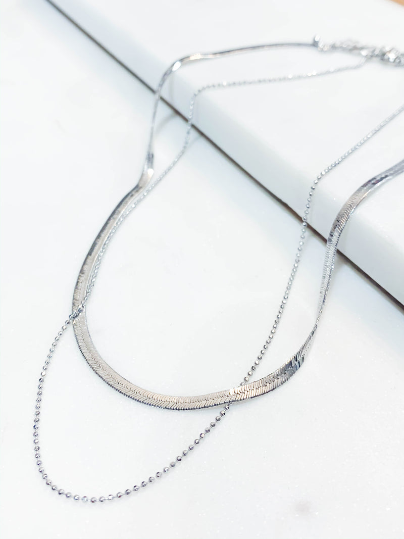 Lara Layered Necklace - Silver