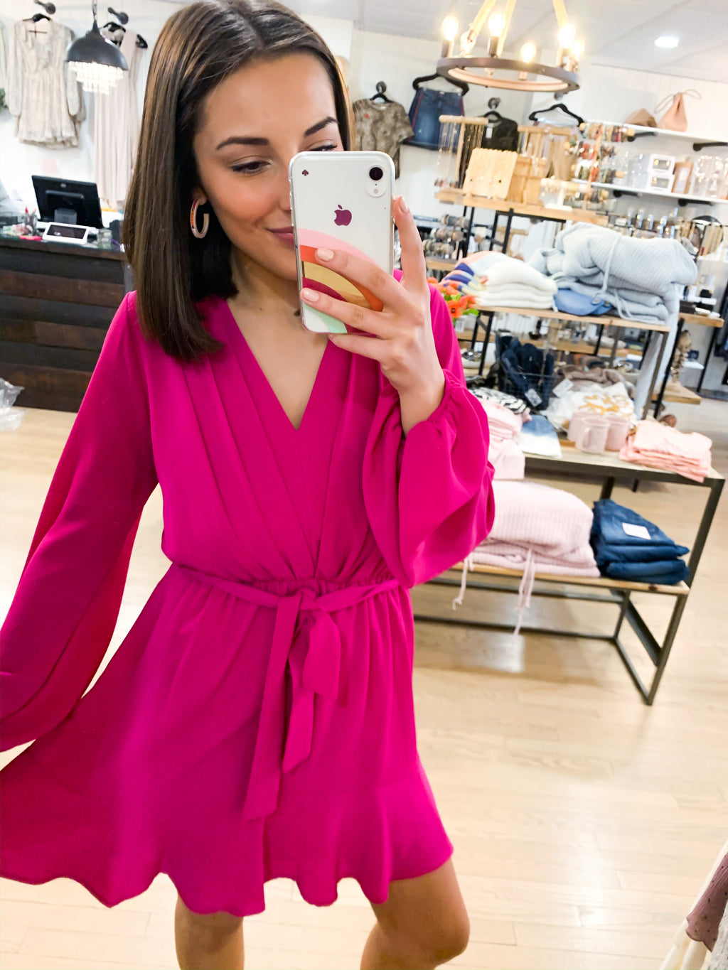 McKenna Fuchsia Pleated Dress