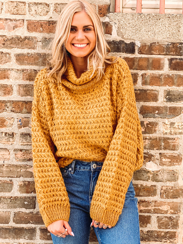 Honeycomb Mustard Turtleneck