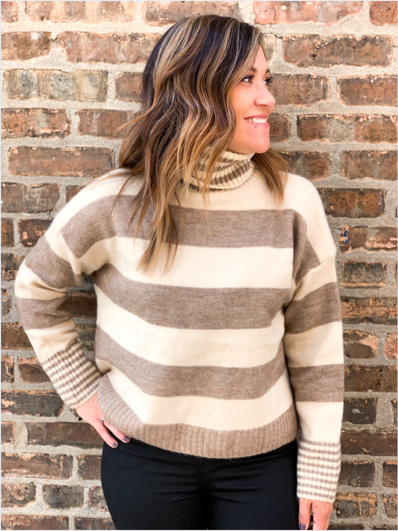 Sandy Taupe Striped Turtleneck