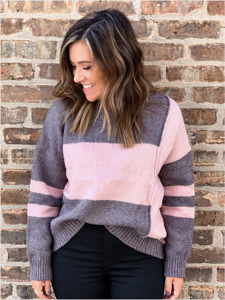 Gabby Grey Colorblock Sweater