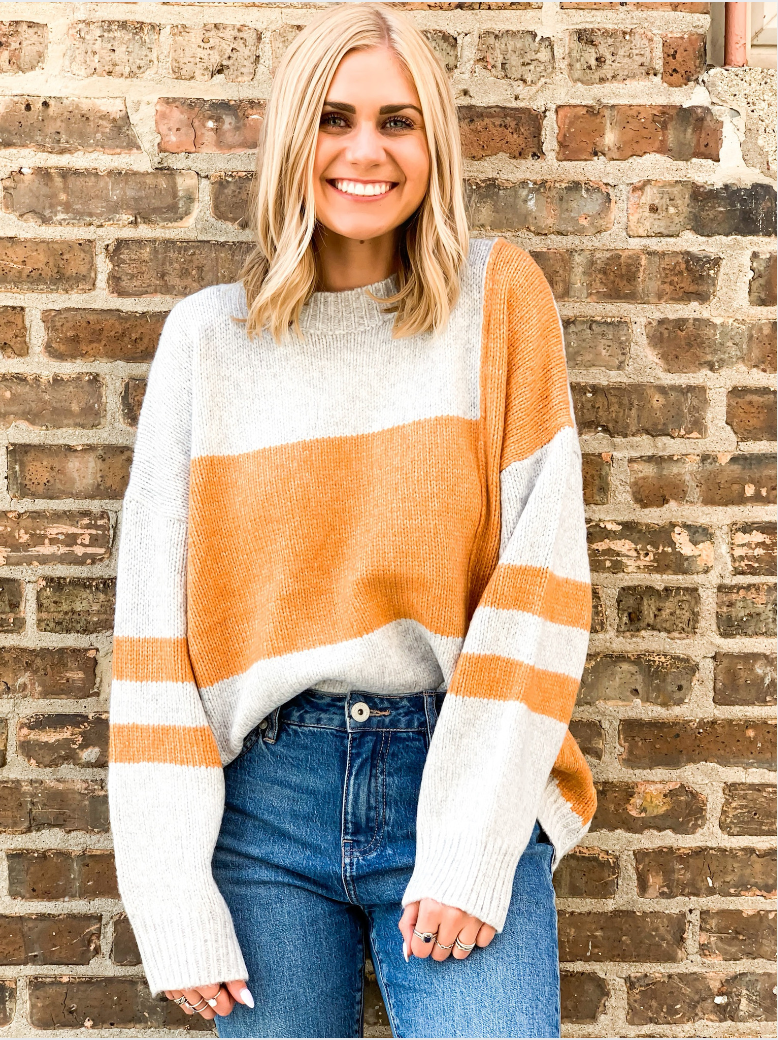 Charlie Orange Colorblock Sweater