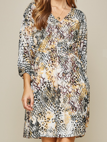 Autumn Stroll Print Mix Dress
