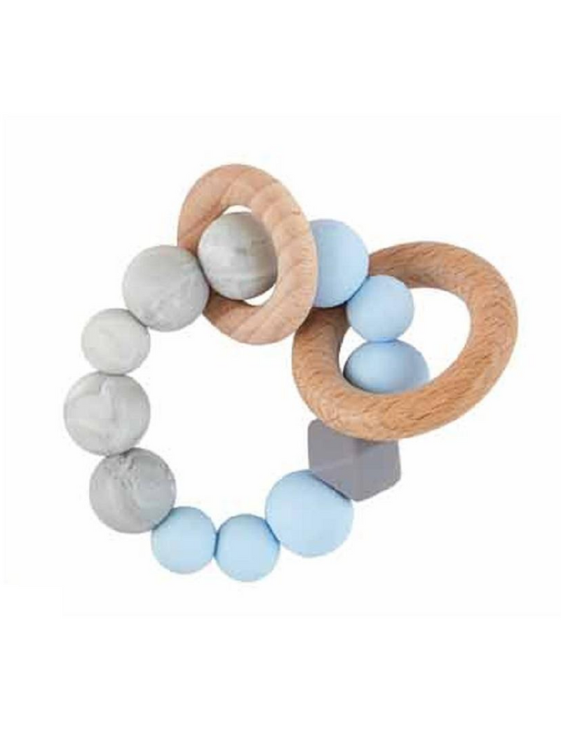 Natural Wood & Silicone Teether - Blue