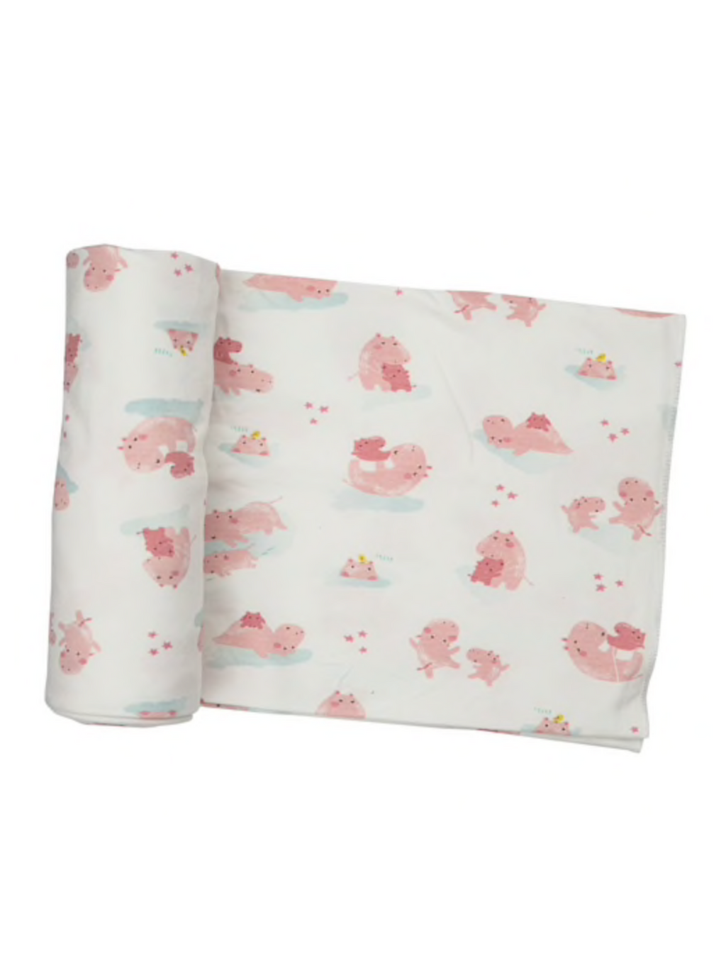 Pink Hippo Swaddle Blanket